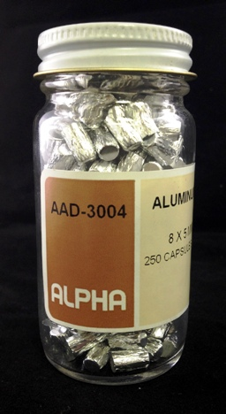 View Pressed Aluminum Capsules (H= 8mm, D= 5mm) - 250 Capsules Per Package