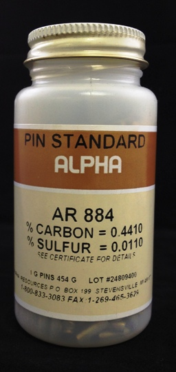 View C/S PIN STANDARD C= 0.443% S= 0.0123%S , 1g NOMINAL WEIGHT, 454g PER BOTTLE