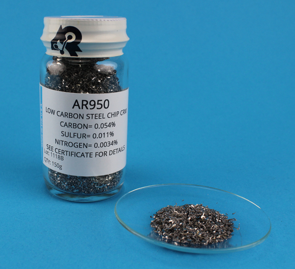 View Carbon, Sulfur and Nitrogen Steel Chip CRM (C= 0.054%, S= 0.011%, N= 0.0034%)